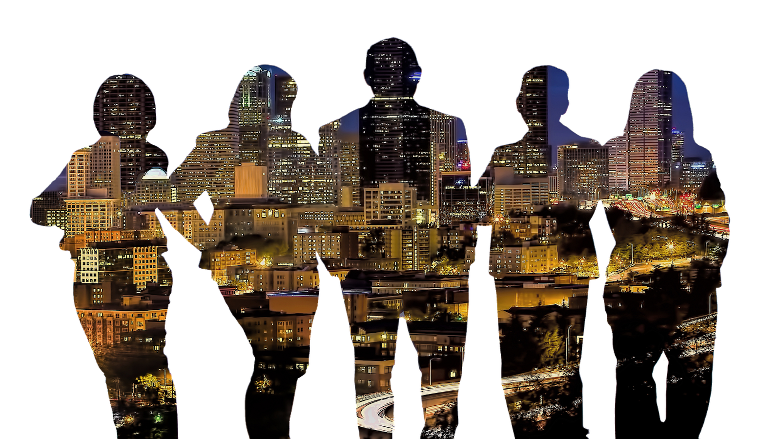 silhouettes of people with city background | Video Communications Agency